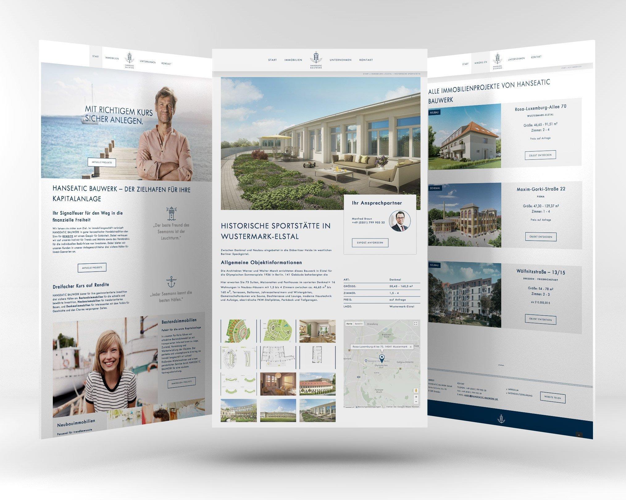 Übersicht der Website Hanseatic Bauwerke