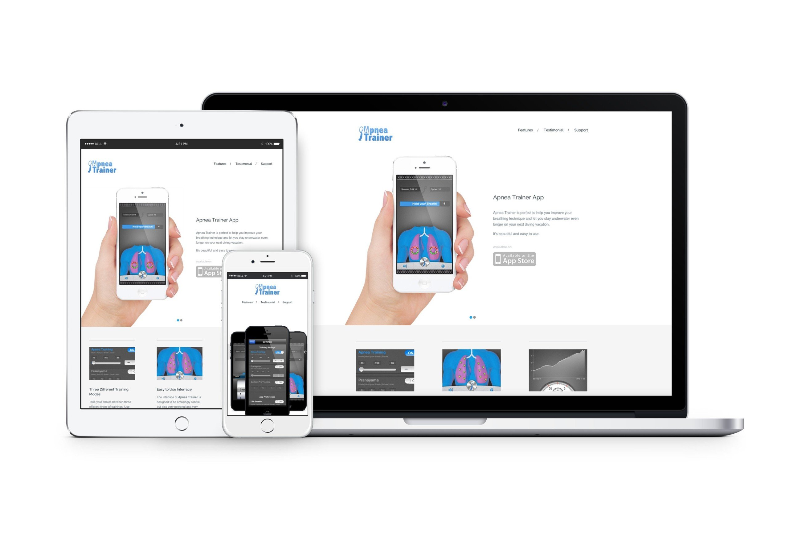 Apnea Trainer Website zur App