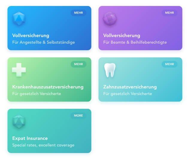 Farbverläufe auf der Website der Ottonova Krankenversicherung