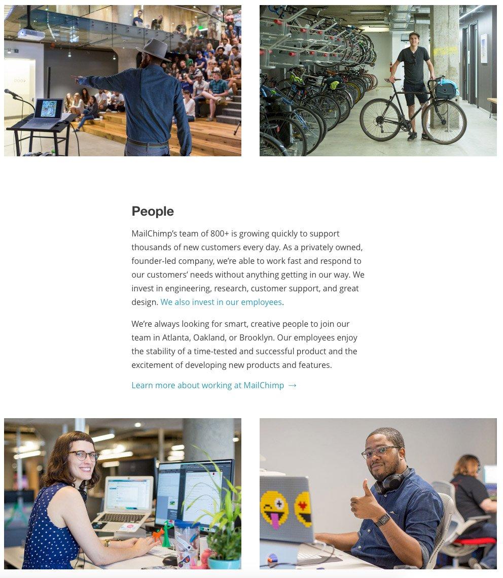 Ueber uns Seite von Mailchimp mit Bildern von normalen Mitarbeitern