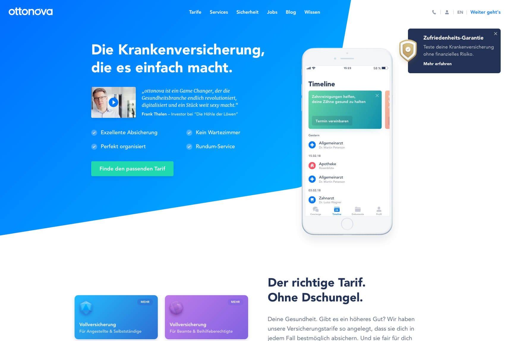 Ottonova Krankenversicherung Website Design