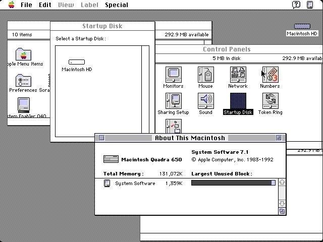 Alte Desktop Version von Apples Computer Betriebssystem