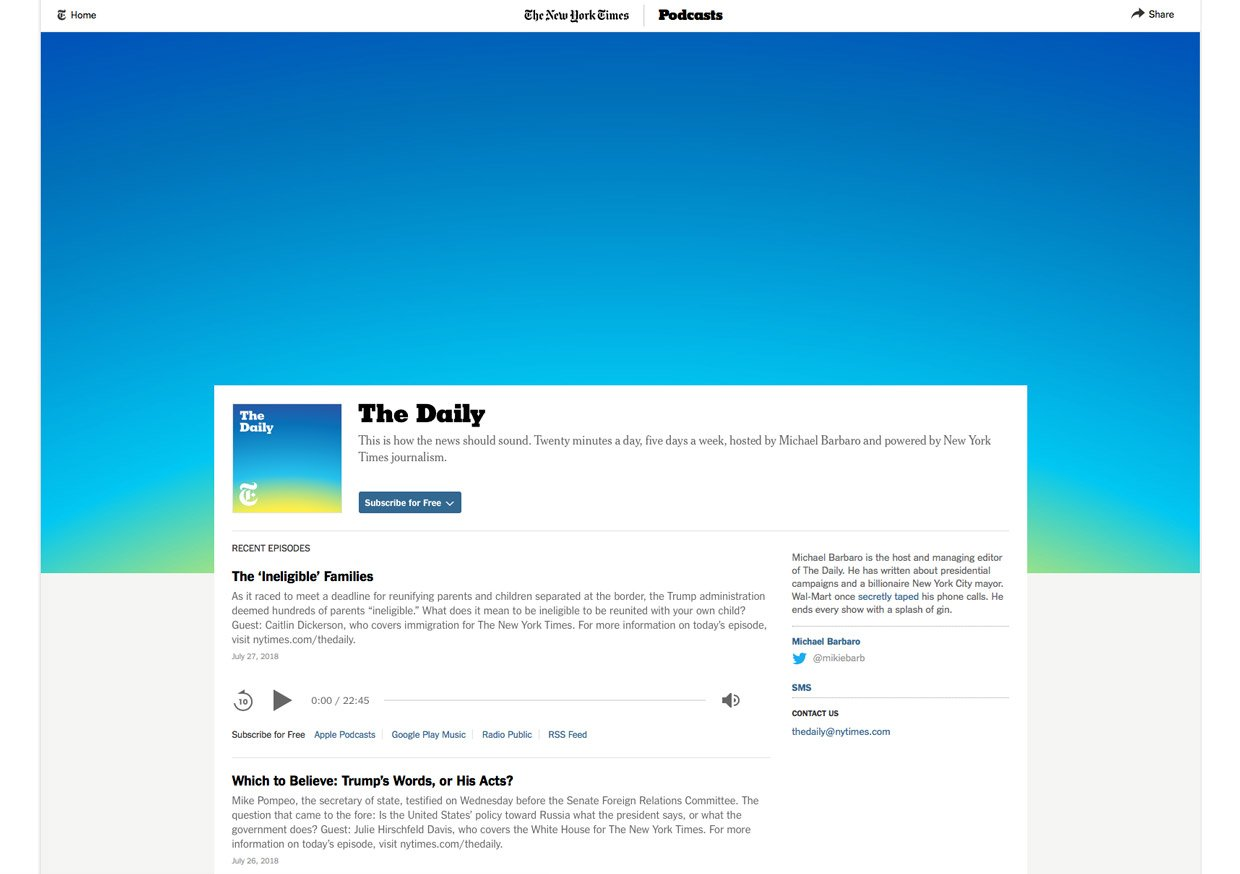 UX Design Beispiel der Website The Daily