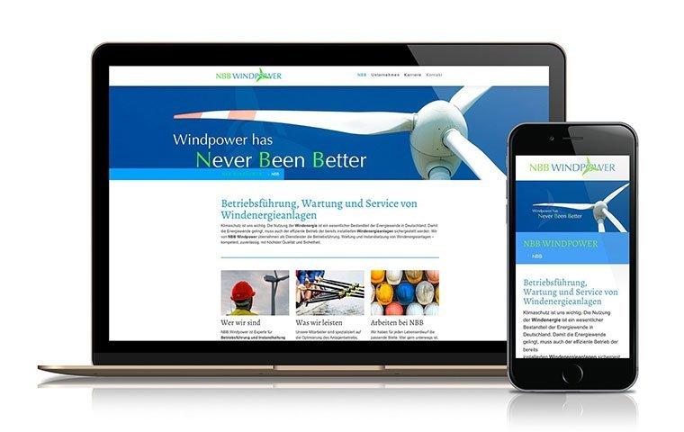 Webdesign und Logo für NBB Windpower